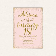 Pink gold glitter 18th birthday invitation for girl modern teen 18th birthday pink and gold 18th birthday party birthday invitation birthday party printable invitation 18 years oldhappy birthday 27 stopboris Gallery