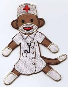 Iron On Applique Embroidered NURSE Sock Monkey Patch