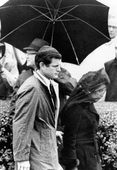 Joseph P. Kennedy funeral. Rose Kennedy leaving St. Francis Xavier Church in Hyannis following private funeral service for her husband, Joseph P. Kennedy. She is escorted by her son, Senator Edward Kennedy. Nov. 20, 1969.