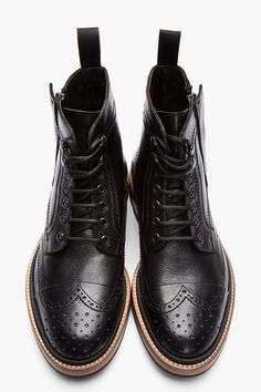 """I wouldn& want to be in your shoes.- ""I wouldn& want to be in your shoes.""(…unless these are your shoes)…LA… ""I wouldn& want to be in your shoes.""(…unless these are your shoes)…LANVIN Black Leather Brogue Boots - Men S Shoes, Your Shoes, Men Boots, Men Dress, Dress Shoes, Der Gentleman, Look Man, Fashion Shoes, Mens Fashion"