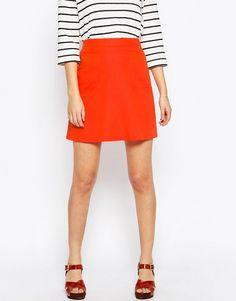 Image 4 ofASOS A-Line Linen Skirt with Pocket Detail