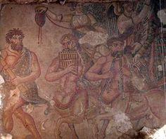 Mosaico de la villa romana de Noheda en Cuenca. Escena de músicos.