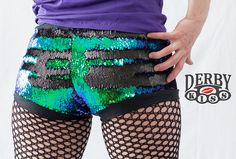 Color changing sequin derby shorts from Derby Kiss