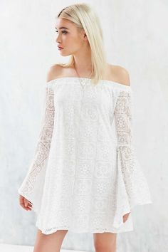 Kimchi Blue Lace Off-The-Shoulder Bell-Sleeve Frock Dress - Urban Outfitters