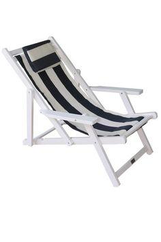 Deck Chair Beach Wooden Outdoor With Free Head Cushion White Frame