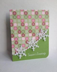 handmade Christmas card:Tied Together Snowflakes by lisaadd ... soft greens and pinks ... die cut snowflakes strung together ... lovely card ...