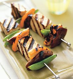 Thai Citrus Tofu Kebabs Serves 4 INGREDIENTS 1/3 cup low-sodium soy sauce 1/4 cup fresh orange juice 1/4 cup fresh lime juice 1 tablespoon honey 1 tablespoon minced ginger 2 packages (14 oz each) extra-firm tofu, drained 1 navel orange, unpeeled 1/4 pound snap peas 2 oz fresh shiitake mushrooms Vegetable oil cooking spray
