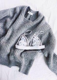 knit sweater + bralette