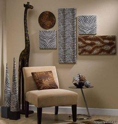 оригинальные настенные панно из ткани и пенопласта. African Decor