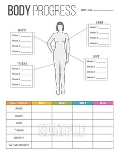 Body Progress Tracker Printable - Body Measurements Tracker - Weight Tracker - Health and Fitness - Fitness Motivation, Fitness Goals, Fitness Challenges, Trainer Fitness, Ab Workout At Home, At Home Workouts, Workout Log, Workout Ideas, Fitness Tracker