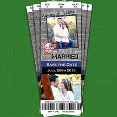 Have you been searching for the perfect SAVE the DATE card? You've found it! Perfect for the baseball fanatic. This is a unique one of a kind ticket sure to wow your guests.  After purchasing, you ...