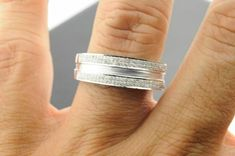 Men's White Gold Over With Ct Round Diamond Pave Set Wedding Band Ring Cz Wedding Bands, White Gold Wedding Bands, Wedding Rings, Round Cut Diamond, Round Diamonds, Mens Pinky Ring, Stainless Steel Wedding Bands, Tungsten Jewelry, Engagement Bands