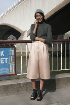 // Blush culottes and skinny knit