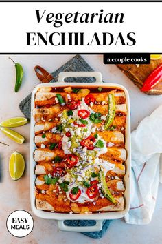 This vegetarian enchiladas recipe is fast and easy: a total crowd pleaser! The simple pinto bean and cheese filling is full of flavor. | healthy dinner recipes | dinner ideas | mexican food recipes | vegetarian recipes | #easy #enchiladas #easyenchiladas #easyenchiladarecipe #vegetarianenchiladas #vegetarianenchiladarecipe Easy Vegetarian Dinner, Vegetarian Cookbook, Vegetarian Recipes Easy, Healthy Dinner Recipes, Mexican Food Recipes, Easy Recipes, Easy To Cook Meals, Weeknight Meals, Easy Enchilada Recipe