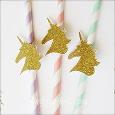 Gold Glitter Unicorn Pastel Party Straws Set Of 12