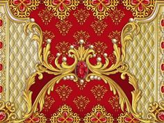 Decorative composition with perls,rubies and golden elements 1 by Maria Rytova