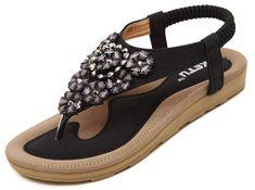 0155ecc0d9b8e DolphinBanana Women s Summer Flat Sandals Glitter Floral Rhinestones Beach  Shoes Vacation Daily Wear Bling Bling Match