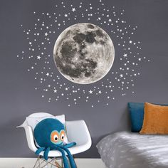 Moon & Stars Fabric Wall Decal for the Nursery and Children's Rooms Moon & stars wall decal- Etsy Girls Bedroom, Star Bedroom, Baby Bedroom, Bedroom Themes, Girl Room, Moon Nursery, Star Nursery, Nursery Wall Decals, Diy Zimmer
