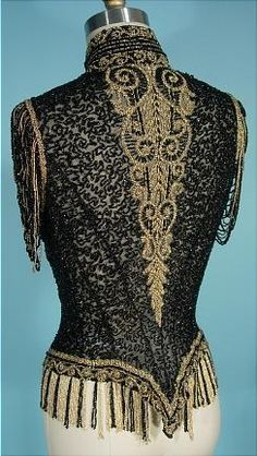 . 1890 VICTORIAN Jet Black and Gold Glass Beading Bodice on Net with Open Beaded Sleeves