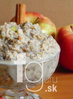 Raw jablkovo-škoricový chia puding Chia Puding, Oatmeal, Breakfast, Fitness, Food, Gymnastics, Meal, Eten, Meals
