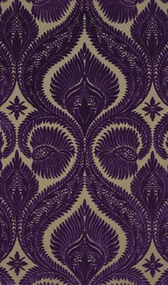 Dryden Velvet    A figured viscose pile velvet version of the damask in four rich colourways of emerald and bitter chocolate, gold and chocolate, fuchsia and taupe and blackcurrant and beige.  This design is only available as a hanger/carré (USA - flat sample).