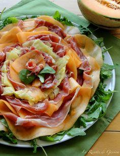 antipasto freddo Carpaccio di prosciutto crudo ananas e melone