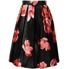 Choies Black Pleated Floral Print Midi Skirt ($28) ❤ liked on Polyvore featuring skirts, choies, multi, mid-calf skirt, black skirt, midi skirt, flower print skirt and black knee length skirt