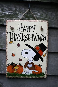 Snoopy and Woodstock pumpkins, pilgrim outfits and falling leaves Happy Thanksgiving Wall-hanging Slate
