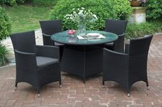 Daily Deals!  208 5 pc outdoor set $449.00  A voluminous design of modern style, this 5-piece patio set features wide square shaped table and chair bases giving it a dramatic presence for your outdoor dining experience. The round table includes a  glass countertop and each chair comes with a earth hued seat cushion. Each piece is covered in aluminum and resin wicker rust-free with material that is also weather, fade, and heat resistant. Available in dark brown and tan.