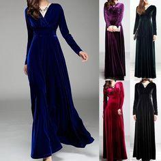 Elegant Women Sexy V Neck Velvet Party Evening Cocktail Long Sleeve Maxi Dress #Unbranded #Maxi #Formal