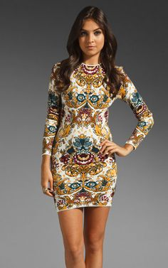 Herve Leger Mammie Long Sleeve Printed Knit Bandage Dress Herve Leger Dress Outlet - Herve Leger Dress Outlet USA LOVE it