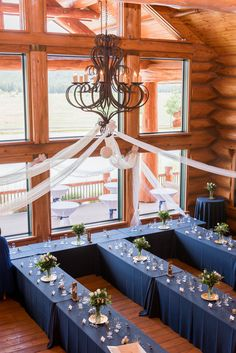 """<strong class='info-row'>Studio 616 Photography</strong> <div class='info-row description'><html>  <head></head>  <body>    White tulle was draped from the chandelier giving the reception space a light and airy feel.  Venue:   <a href=""""https://www.weddingwire.com/reviews/foxboro-ranch-estates-flagstaff/d53a067c8c67965a.html"""" target=""""_blank"""">Foxboro Ranch Estates</a>  Floral Design: Leslie Workman  Rentals:   <a href=""""https://www.weddingwire.com/biz/verve-events-tents-c..."""