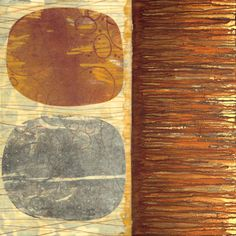 Niju (Dual), artwork by David Owen Hastings :monotype, collage and stitching on canvas, 36″ x 36″ x 1.5″, 2012.  Niju is a study in balance, equilibrium, and the beauty found in rusty surfaces.