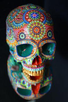 Sugar Skull Decor, Sugar Skull Art, Skull Painting, Dot Painting, Day Of The Dead Party, Half Skull, Paper Mache Mask, Skull Mask, Mexican Skulls
