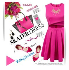 Summer Style: Cutout Skater Dress by svijetlana on Polyvore featuring Valentino, Kenneth Jay Lane, Alexis Bittar, BaubleBar, Guide London, skaterdress, polyvoreeditorial and allhqfashion