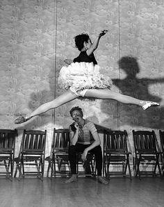 Peter Stackpole  Tamara Toumanova executes a grand jeté for comedian Danny Kaye, 1945