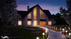 Ночная визуализация загородного дома #architecture #2floors_6m #housing #minimalism #100_200m2 #facade_plaster #frame_ironconcrete #cottage #mansion