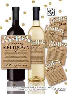 Baby Shower New Mom Gift Milestones for Mommy Wine Champagne Labels Mommy Meltdown Date Night Girl's Night Temper Tantrum Favorite Pants BM1 by LushLabel on Etsy https://www.etsy.com/listing/482249085/baby-shower-new-mom-gift-milestones-for