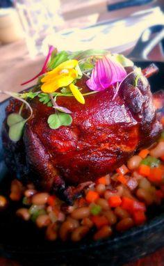 Smoked Pork Shank, black eye pea salad, pickled pearl onions