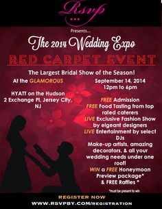 RSVP Events presents The 2014 Wedding Expo Red Carpet Event on Sunday, September 14, 2014 from 12:00pm – 6:00pm at the Hyatt Regency on the Hudson