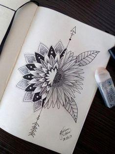 Mandala art design ink 21 new ideas Mandala Art, Mandala Tattoo Design, Dotwork Tattoo Mandala, Mandala Doodle, Mandalas Painting, Mandala Drawing, Doodle Art, Tattoo Designs, Sunflower Mandala Tattoo