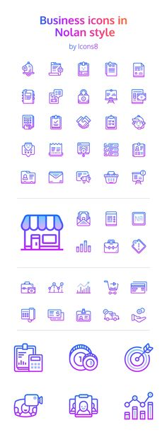 ⬇ Free download: 48 Nolan Business Icons by Icons8