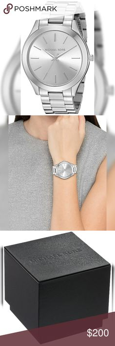 NWT Authentic Michael Kors Silver Runway Watch NWT Authentic Michael Kors Silver Runway Watch  The Slim Case on this Michael Kors Watch along with the Markers and Accents is Eye-Catching. The Watch has a Timeless Finish that adds Sleek Sophistication to any look.  Features: 42mm Round Case Water Resistant to 10m Stainless Steel Band  Comes with all Retail Packaging!!!  Moda Boutique SF Moda Black Label @ModaByBoutique Michael Kors Accessories Watches