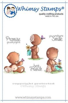 Whimsy Stamps - Rubber Stamps, Clear Stamps, and Whimsy Stamps, Digi Stamps, Teddy Bear Images, Bear Cartoon, Love Bear, Bear Art, Cold Porcelain, Stamp Collecting, Baby Cards
