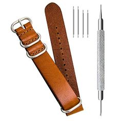380bf10c85f CIVO Genuine Grain Leather NATO Zulu Military Swiss G10 Watch Band Strap  18mm 20mm 22mm Stainless Steel Buckle     You can find more details by  visiting the ...