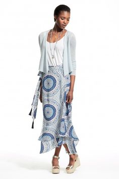 Enjoy an additional 50% off newly added sale styles. Cashmere ballerina cardigan and printed wrap skirt.
