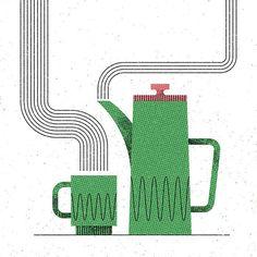 """Fresh brew #illustration #vector #design #texture #designspiration #bestvector #MUTI #coffee #retro #vintage #midcentury"""