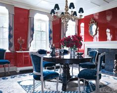 In the lacquered dining room, original and reproduction Jansen chairs upholstered in a Lee Jofa velvet surround a table by Oscar de la Renta; the gilt-wood chandelier is early century, and the Samarkand rug is from Doris Leslie Blau. Dining Room Blue, Dining Room Design, Dining Rooms, Contemporary Dining Room Furniture, Contemporary Decor, Blue Furniture, Kitchen Furniture, Luxury Furniture, Vintage Furniture