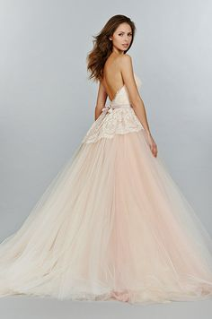 This fabulous blush pink wedding dress features beautiful lace bodice and tulle skirt. Tara Keely, Fall 2014