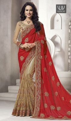 Flaunt simplistic elegance draping this red and beige color net viscose satin half n half sari. The ethnic lace, resham and stones work to your clothing adds a sign of splendor statement for look. Indian Wedding Wear, Saree Wedding, Indian Wear, Designer Sarees Wedding, Indian Dresses, Indian Outfits, Bollywood Bridal, Net Blouses, Bollywood Outfits